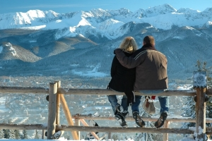 A couple looking at the mountains in Zakopane